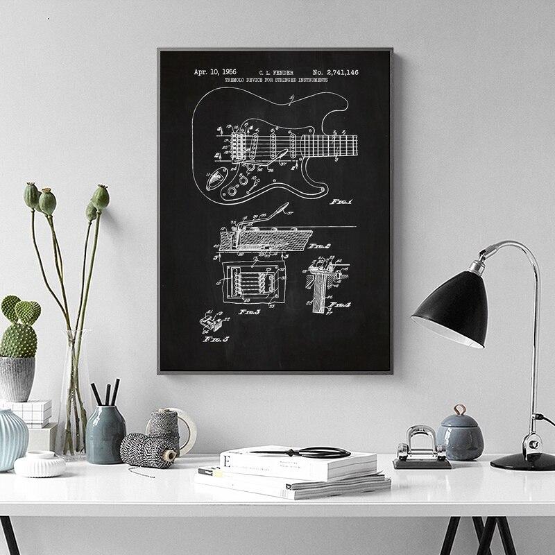 Fender stratocaster гитара стены Книги по искусству Краски Настенный декор отпечатки на холсте холст Книги по искусству плакат масляной Картины No ...