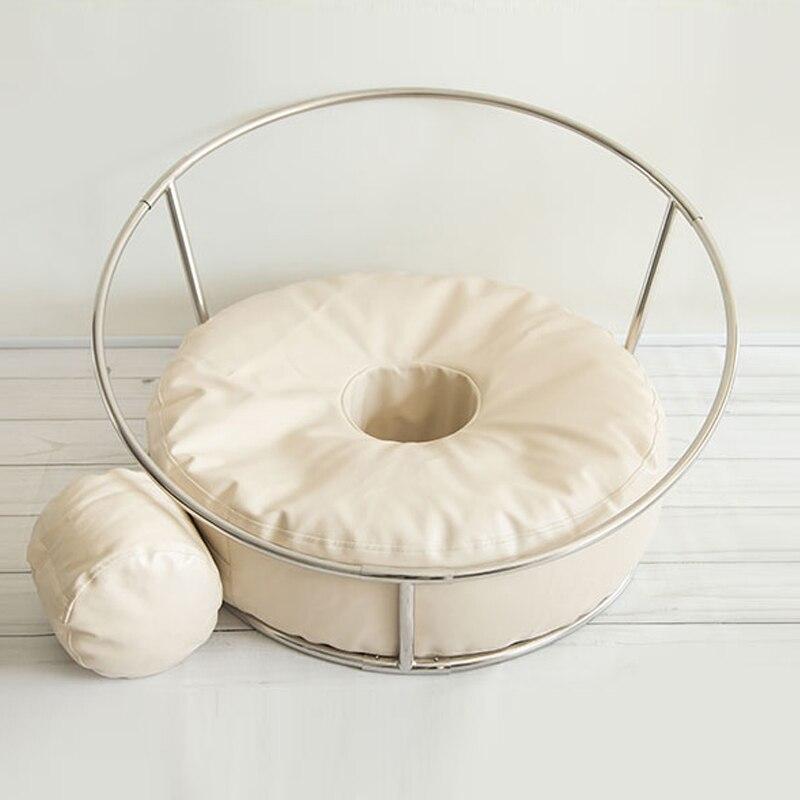 Nouveau-né photographie accessoires bébé Flokati Photo Shoot accessoires panier pour Studio 85 CM grande taille haricot sac + nid rond étagère