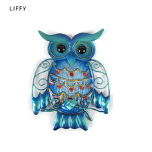 Liffy Metal Owl Wall Animal Miniatures Garden Decoration Outdoor Statues and Accessories Sculptures