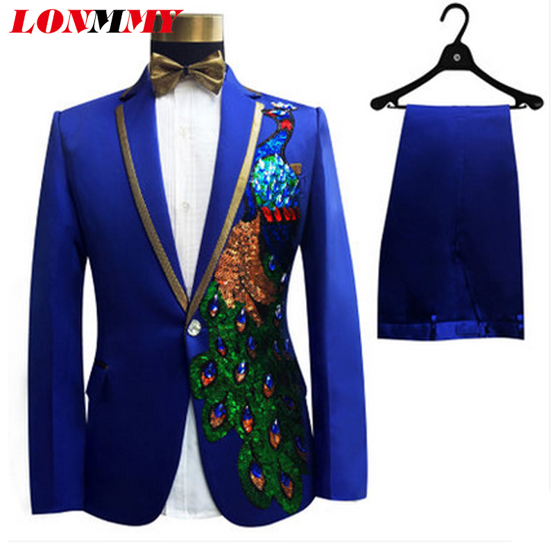LONMMY Wedding men blazer slim fit Peacock flowers Sequin embroidered Suits mens 2 pieces/sets Jacket +Pants Designs-in Blazers from Men's Clothing    1