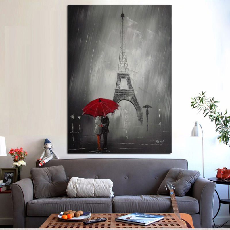 Red Umbrella Romantic Paris City Eiffel Tower Oil Painting HD Print On Canvas Poster Wall Picture For Living Room Sofa Cuadros