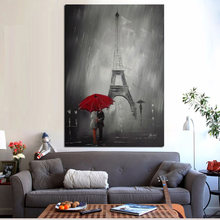 Red Umbrella Romantic Paris City Eiffel Tower Oil Painting HD Print on Canvas Poster Wall Picture for Living Room Sofa Cuadros(China)