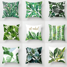 Elife  Tropical Green Leaves Cactus cushion Cover Polyester Bedroom Decorative for Sofa Car Chair Throw Pillows case 45x45CM