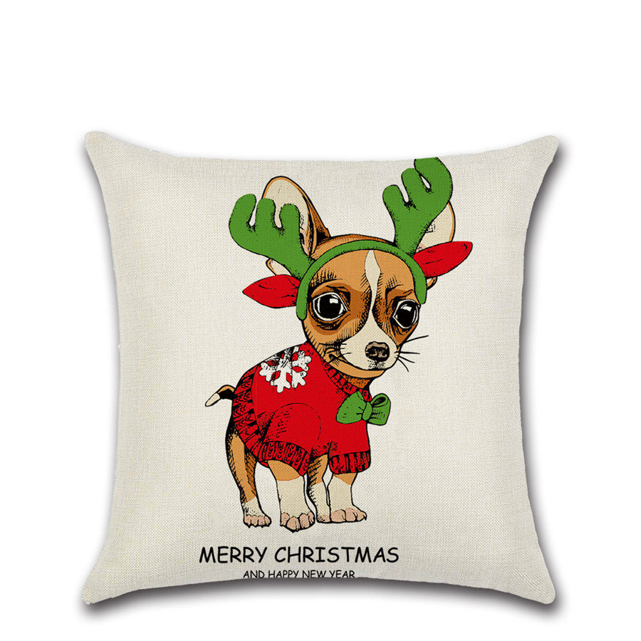 Merry Christmas festival Dogs decoration house party club cushion cover Pillow case Chair sofa kids room friend New Year gift