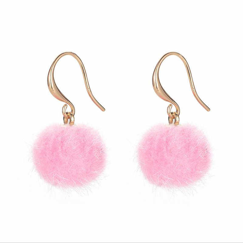 DoreenBeads Cute Pink/ Blue/ Olive Green/ White/ Red/ Black Ball Pom Pom Golden Winter Copper Drop Earrings For Women, 1 Pair