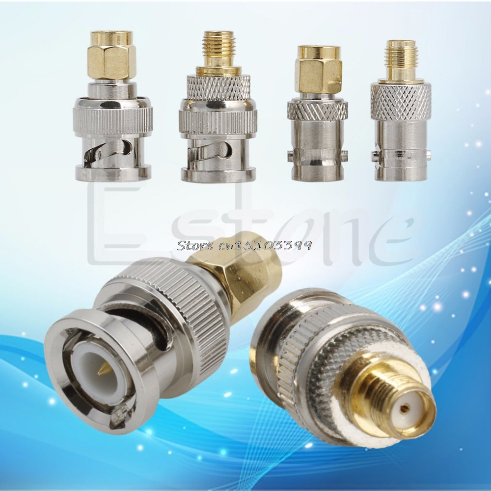 New 4Pcs BNC To SMA Type Male Female RF Converter Test Adapter Kit Connector Set #G205M# Best Quality rp sma female to y type 2x ip 9 ms156 male splitter combiner cable pigtail rg316 one sma point 2 ms156 connector for lte yota