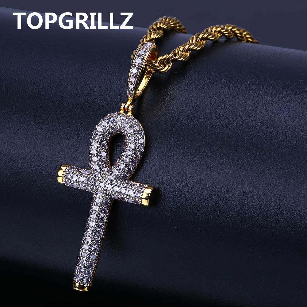 TOPGRILLZ Solid Back Ankh Cross Necklaces Mens Women Hip Hop Pendant Necklaces Iced Out AAA+ Bling CZ Stone Gifts Dropshipping