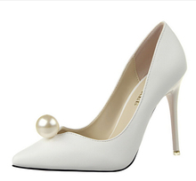 2016 New Brand  High Heels Wedding Shoes Pumps Women Hot Sale Female Sexy High Heels White Pearl Shoes Princess