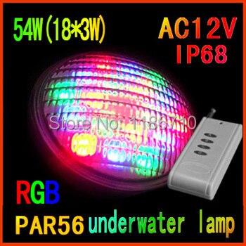 Usine vente led piscine lumière 54 W (18*3 W) RGB Par56 12 v led sous-marine lumières, contient la télécommande livraison gratuite