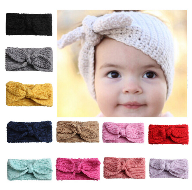 Baby Headwear Bowknot Accessory Toddler Girl Kids Knit Crochet Knot Turban Headband Hair Band Headwrap