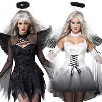 Sexy Dark Angel Costume Ghost Bride Witch Demon Adult Cosplay Party