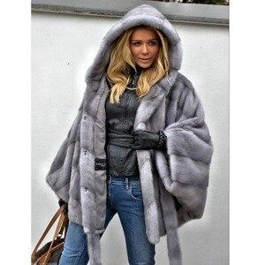 Image 3 - Abrigo de piel de visón auténtica con capucha Chaqueta de manga de murciélago para mujer, abrigo de piel auténtica con cinturón, MKW 107 Natural de piel auténtica para invierno 2019