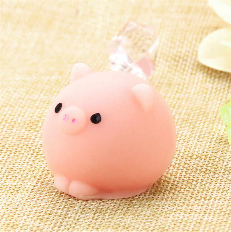 1 PC Mini Mochi Mochi Kelinci Ponsel Tali Babi Bola Licin Squeeze Elastis Liontin Lucu Roti Kue Mainan Anak Giftslow Naik