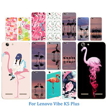 Phone Case for Lenovo Vibe K5 Full Protection Gel Coque K5 Plus Lemon 3 A6020 Flamingos Pattern Skin Soft TPU Silicon Back Cover(China)