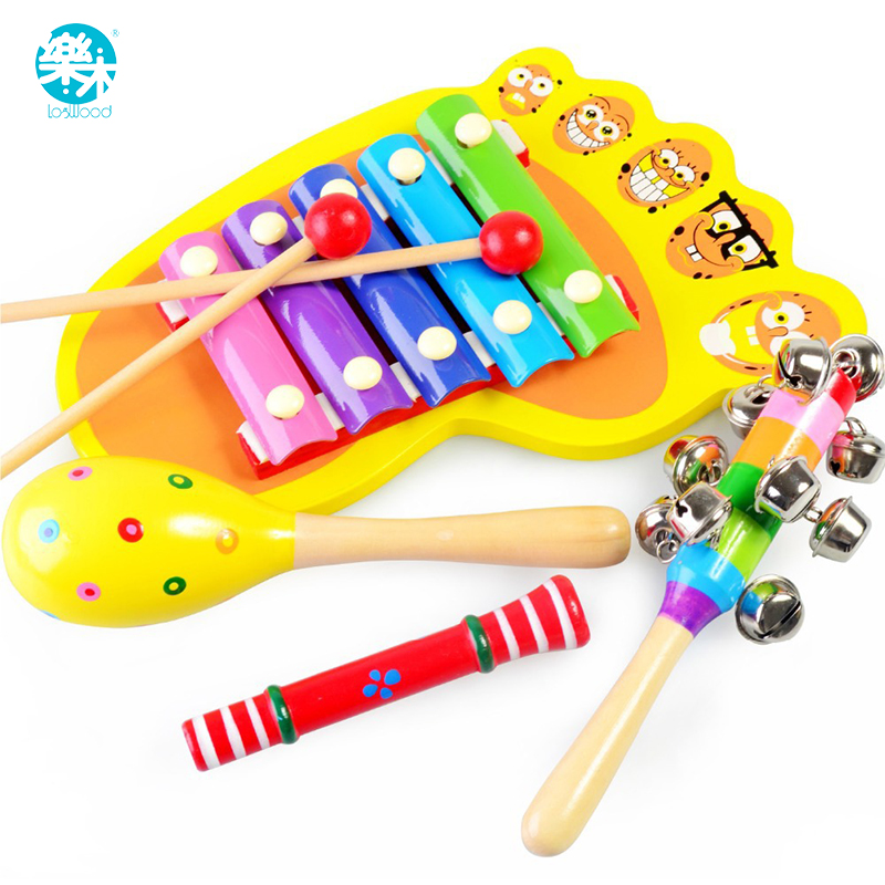 Baby Rattle Ring Wooden musical set  handbell baby Toys Musical Instruments  0-12months colorful music education wooden  toy