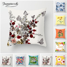 Fuwatacchi Plum Flower Butterfly Cushion Cover Cherry Leaf Pillow Case Linen Cotton Covers Bedroom Sofa Decoration