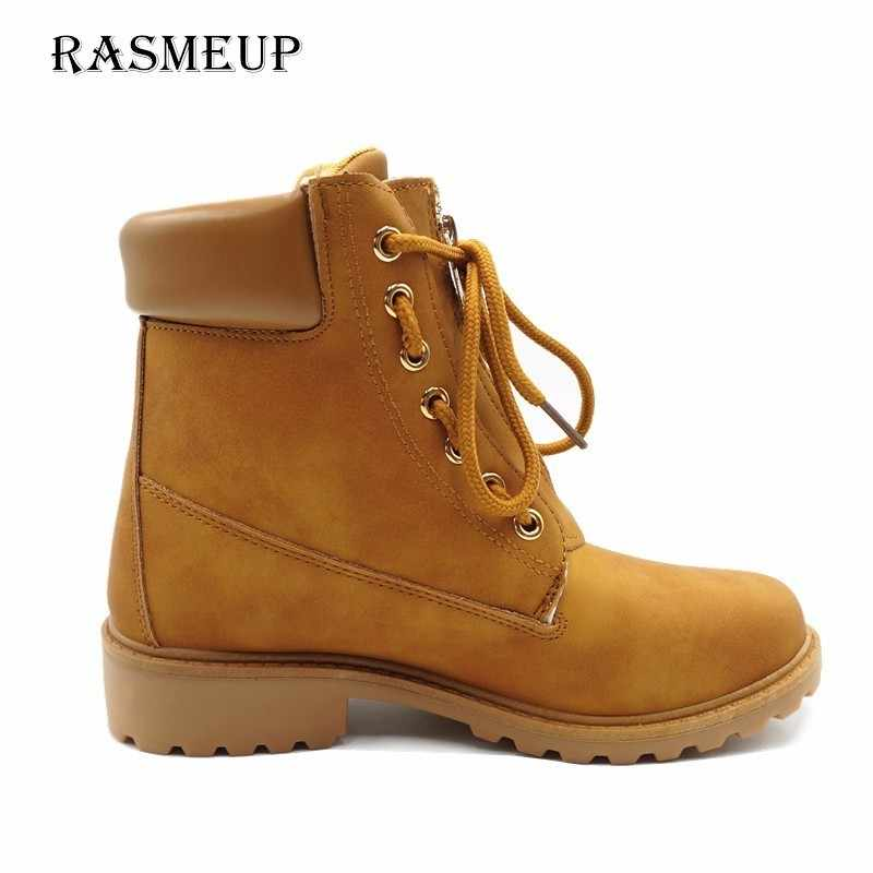 6b91be632dbe ... RASMEUP Women's Lace Up Leather Martin Boot Spring Winter Flat Women  Ankle Boot Fashion Woman Zipper ...