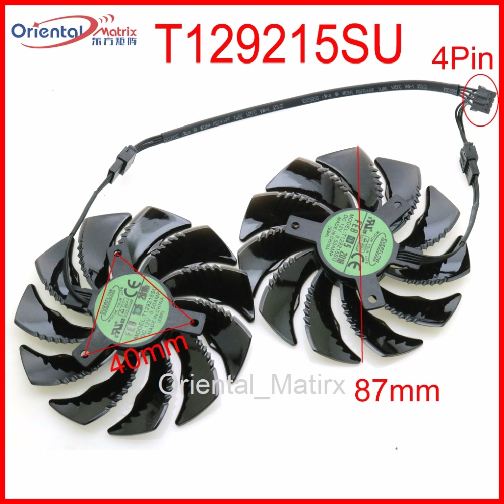 T129215SU 12V 0.50A 87mm VGA Fan For Gigabyte RX480 RX570 GTX1070 GTX1060 GTX1050 GTX1050TI WINDFORCE Graphics Card Cooling Fan free shipping t129215su 12v 0 5a 88mm 28 28 28 28mm 4pins for asus gtx980ti graphics card cooler cooling fan