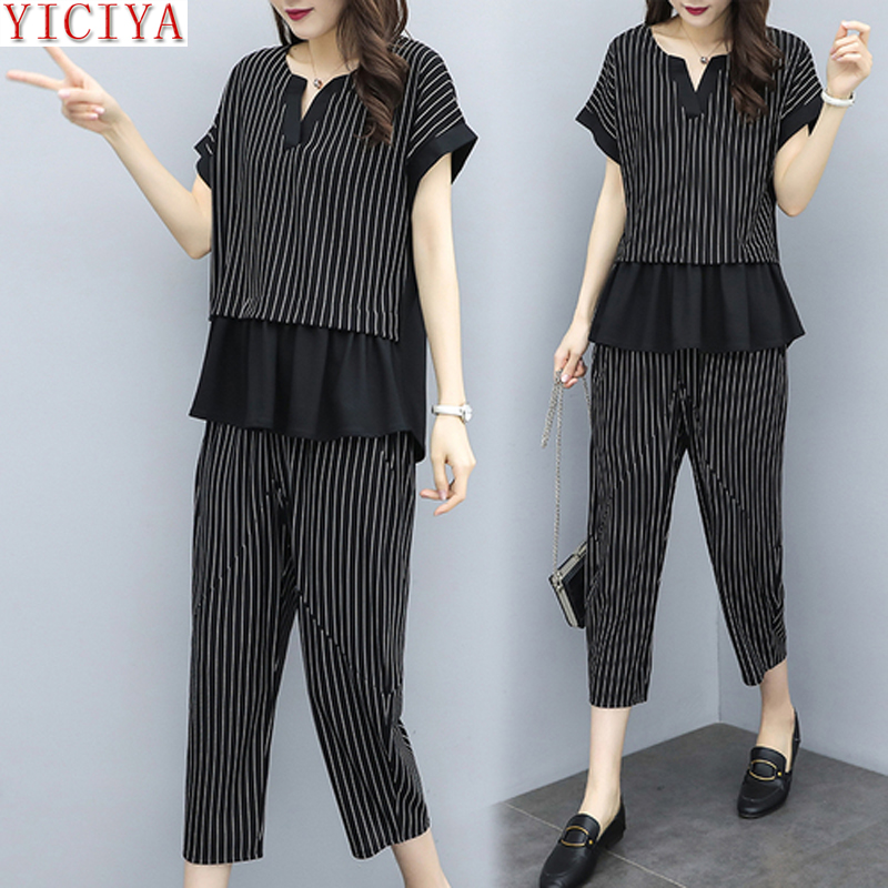 YICIYA Plus Size Large 2 Piece Set Striped Co-ord Women Pants Sets and Top Ruffles Office Suits 2019 Xxxl 4xl 5xl Clothing