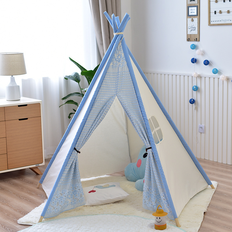 все цены на Cotton Canvas Indoor Lace Teepee Tent Playhouse Kids Tipi Teepee for Girls Indian Wigwam Tent