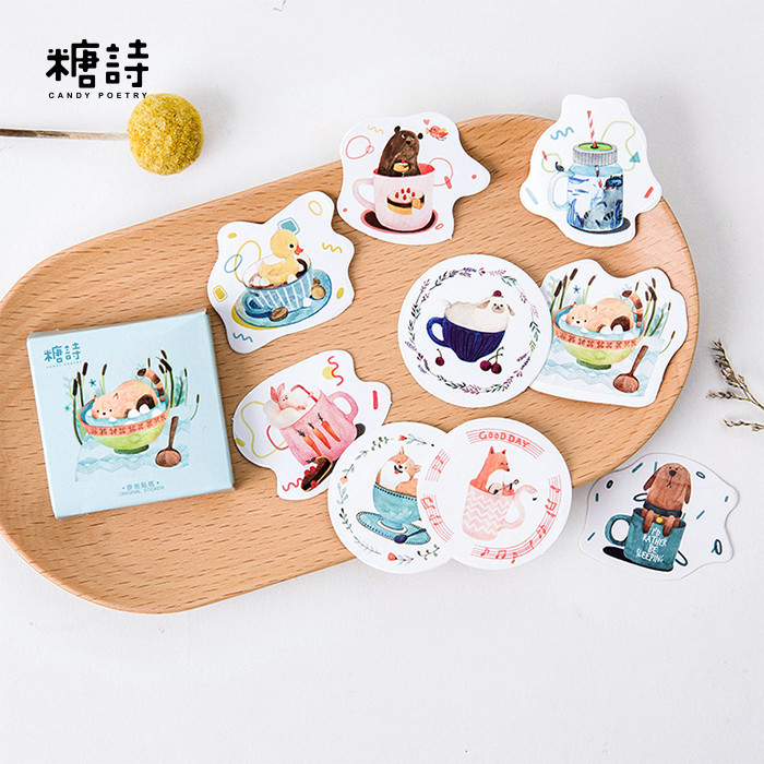 45 Pcs/pack Cup Animals Decorative Stickers Adhesive Stickers DIY Decoration Diary Stickers