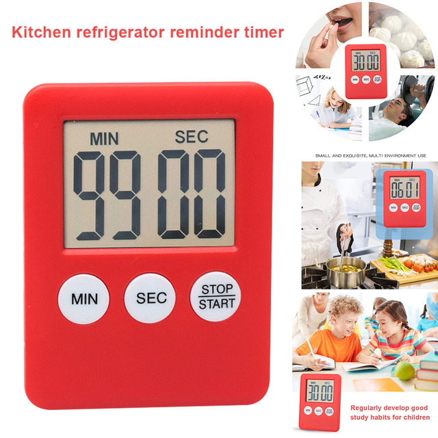 NEW 2019 LCD Digital Screen Kitchen Timer Square Cooking Countdown Alarm Magnet Clock