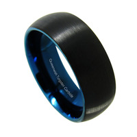 Queenwish 8mm Blue Round Domed Tungsten Carbide Ring Black Brushed Polish Finished Engagement Rings Bands