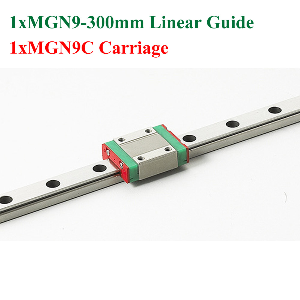 New MGN9 MR9 9mm Linear Rail Guide Steel Slide Length 300mm With Mini MGN9C Block Carriage Cnc cnc part mr9 9mm linear rail guide mgn9 length 550mm with mini mgn9h linear block carriage miniature linear motion guide way