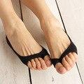 Hot venda nova mulheres de fibra de bambu summer dedo aberto fina meias Anti Derrapante Meias Barco Invisível não-slip de Algodão 1 pair atacado