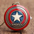 Free Shipping  2016 The Avengers Marvel's Super Hero Captain America Shield Action Figure Pocket Watch with Chain Necklace Gifts