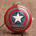 O Envio gratuito de 2016 A Figura de Ação Vingadores da Marvel Super Hero Capitão América Escudo Relógio de Bolso com Colar de Corrente Presentes
