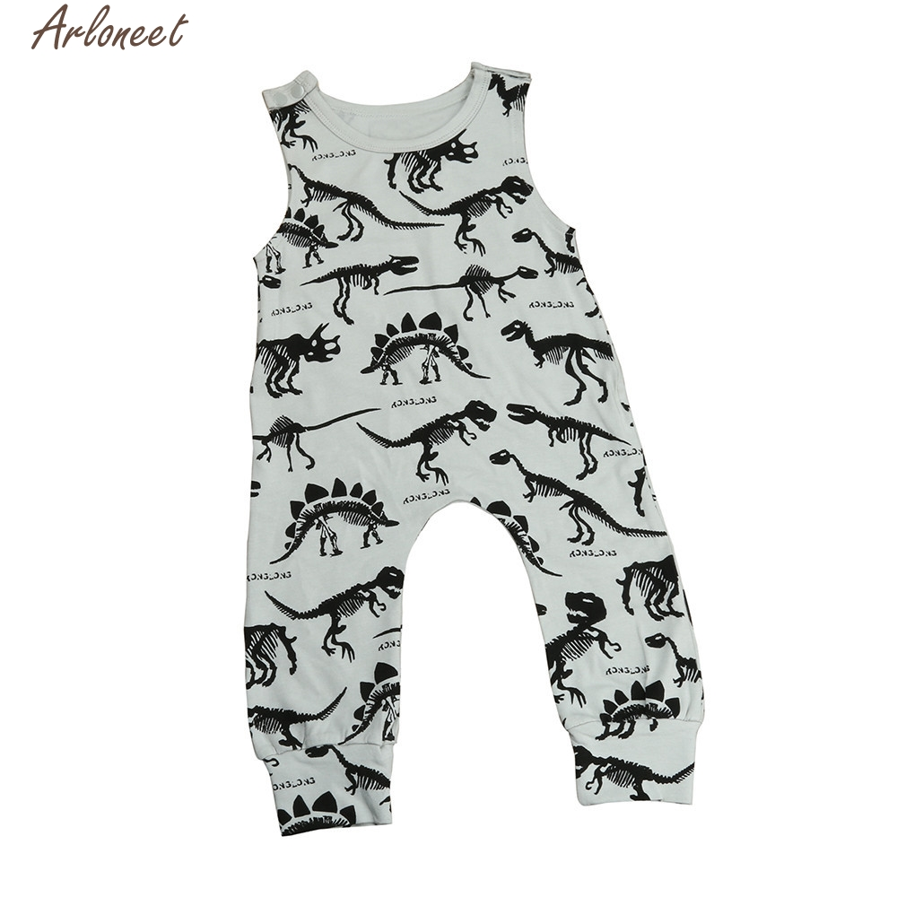 ARLONEET Summer Baby Infant Toddler Kids Gray Cotton Print Jumpsuit Romper Outfits Sleeveless Boys Girls Clothes