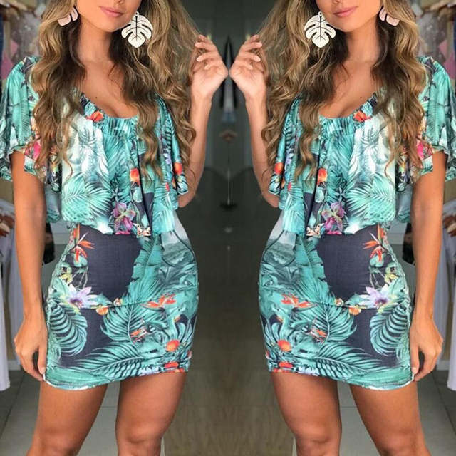f58cef81dc5f6 YOUYEDIAN Ruffle Dresses Women 2018 Summer Short Sleeve Sundress Floral  Printed Casual Vintage Party Beach Dress Female Vestidos