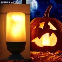 SINFULL ART Płomień Lampy Led E27 110 V 220 V Efekt Płomienia Żarówka Symulacji Pożaru Migotania Oświetlenia 3 W Nowy Rok Wakacje Decora