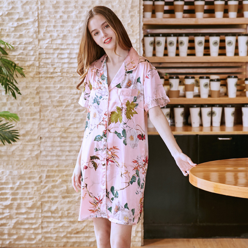 SSH0224 Women   Nightgown   Floral Print Night Dress Satin Silk Sleepwear Sexy V Neck Nightwear Lady Summer Night Gowns   Sleepshirts