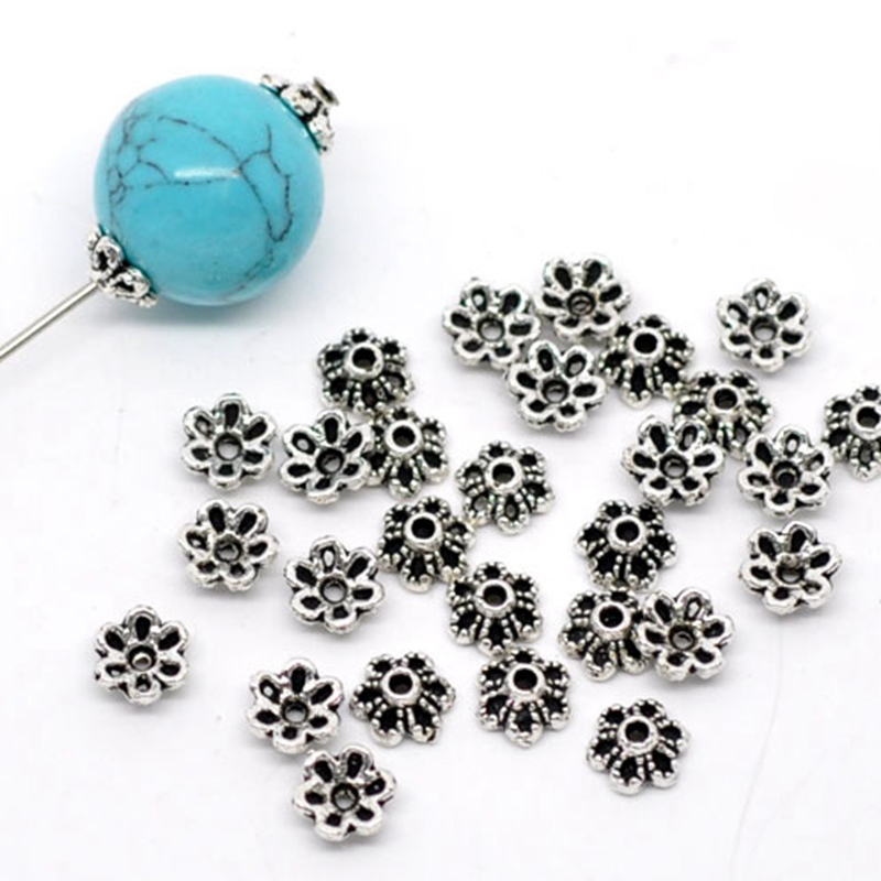 300PCs Beads Cap Ancient Silver Color Flower Shape Bead End Caps Findings For Women Jewelry Making End Caps 6mmx6mm