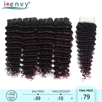 Ienvy 1B Red Brazilian 4 Deep Wave Bundles With Closure Dark Root Ombre Bundle With Closure Curly Human Hair Weave Purple Noremy