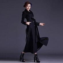 2016 Winter New Fashion Women's Slim Wool Blends Coat S-XXXXL Plus Size Elegant Windbreaker Single Breasted Female Long Overcoat
