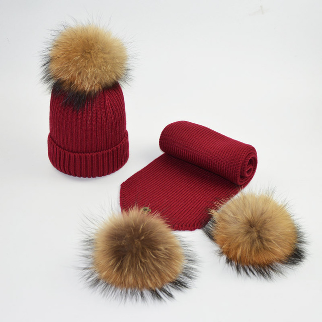 Children Pompom Winter Hats Kids Raccoon Fur Ball Hat Scarf Set Baby Girls  and Boys Knitted cb35ac25510