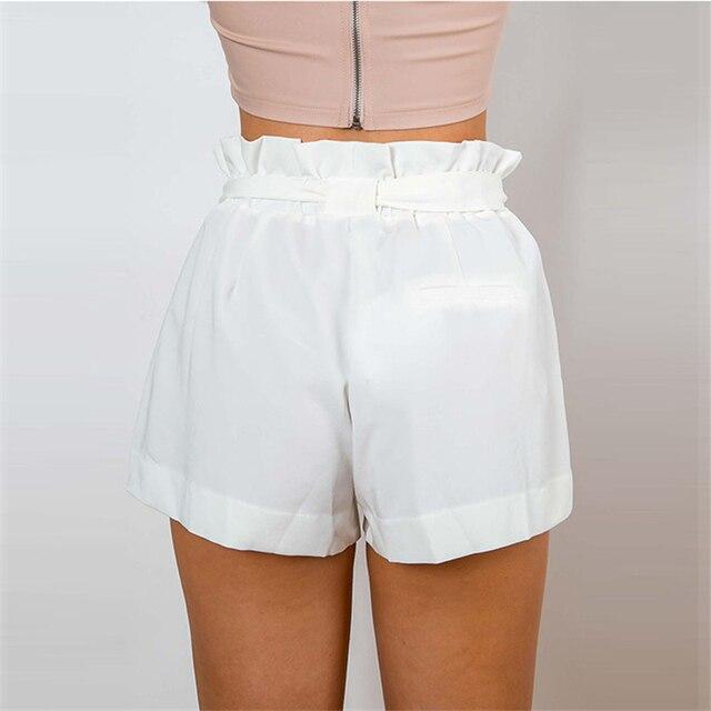 Apparel 2016 summer new style chiffon shorts Bow high waist belt shorts Solid color pocket casual women shorts