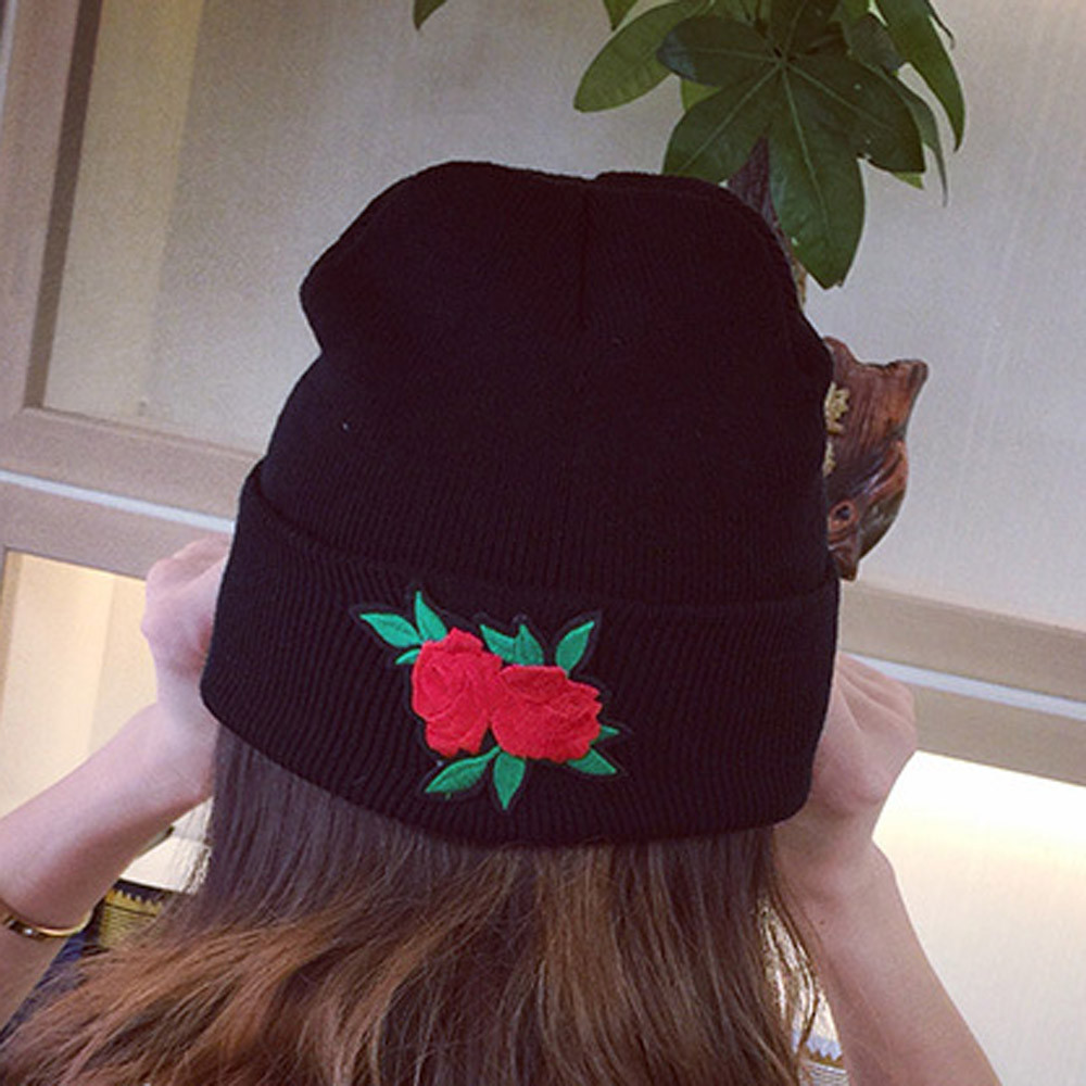 Women Winter Keep Warm Rose Embroidery Applique Crochet Ski Hat Braided Cap