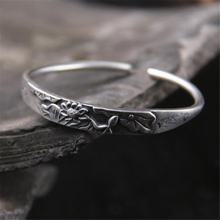 Thai Silver Brand Bracelet Retro 925 Lotus Leaf Open Men Women New Jewelry Fashion High-Quality Bangles
