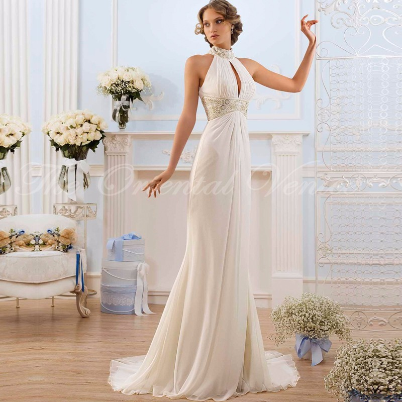 2017 greek style wedding dresses high neck beaded chiffon beach bridal gowns vestidos de novia keyhole