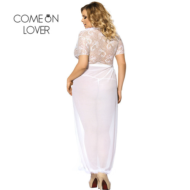 Comeonlover Sheer Lace Kaftan Robe With Thong Plus Size Lenceria Sexi Para Mujer Embroidery Plus Size Sexy Lingerie Hot RI80068 1