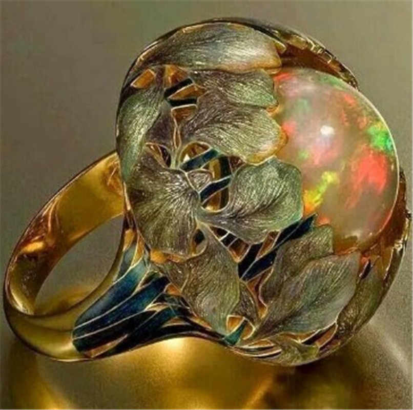 Moda colorido pedra preciosa anel do vintage senhora anel de jóias de ouro
