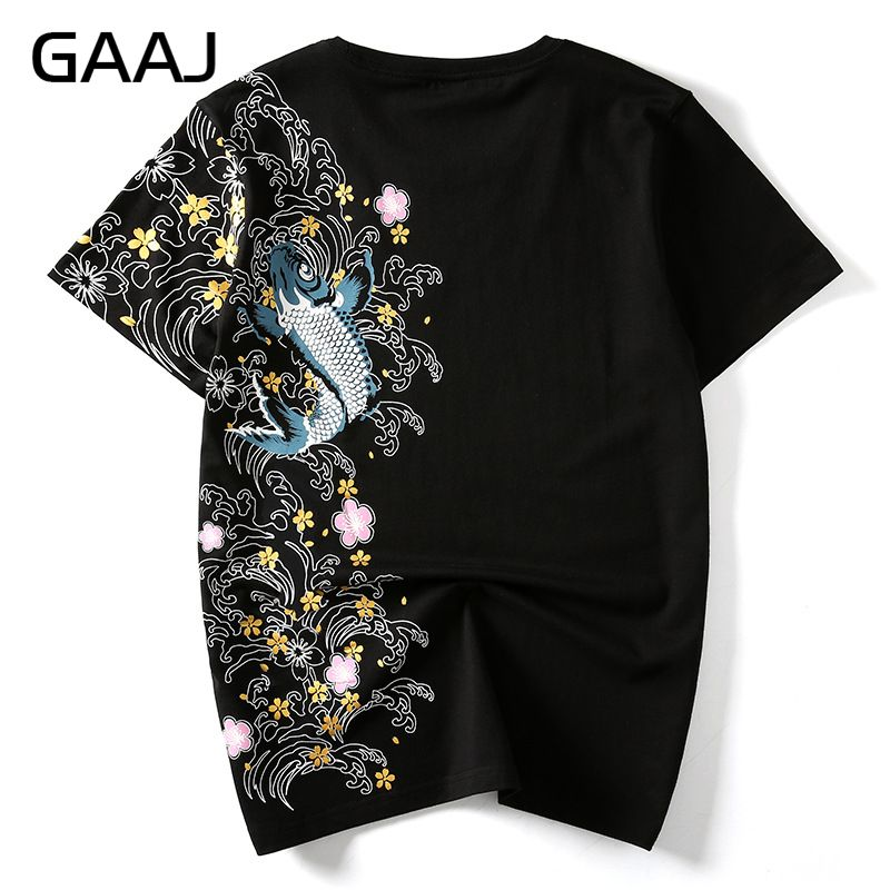 Just Gaaj Casual O Neck Men T Shirts Printed T-shirt Chinese Japanese Style T-shirts For Man Clothes Homme Streetwear Tops Tees Tops & Tees Men's Clothing