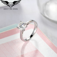 14K WHITE GOLD 2 0CT TEST POSITIVE ROUND MOISSANITE LAB GROWN DIAMOND SOLITAIRE RING