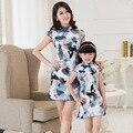 Filha da mãe do Estilo Chinês Roupas vestido Vestido de Princesa Vestidos de Manga Curta Família Olhar Correspondência Roupas Família
