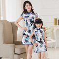 Mother Daughter Chinese Style Princess Dresses Short Sleeve Family Look Matching Clothes  dress Dress Family Clothing