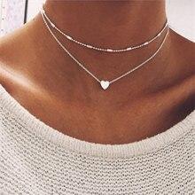 ZCHLGR, колье, ожерелье для женщин, золотая, серебряная цепочка, ожерелье в виде сердца, подвеска на шею, богемное колье, ювелирное изделие